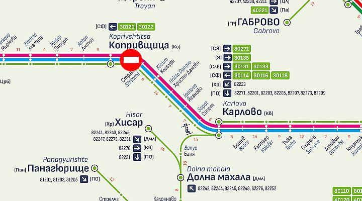 Възстановява се движението на влаковете в участъка между гарите Карлово и Антон